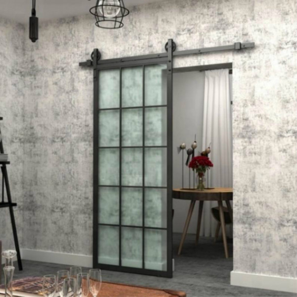 metal frame glass barn door