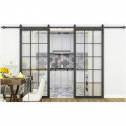 steel frame glass barn sliding door